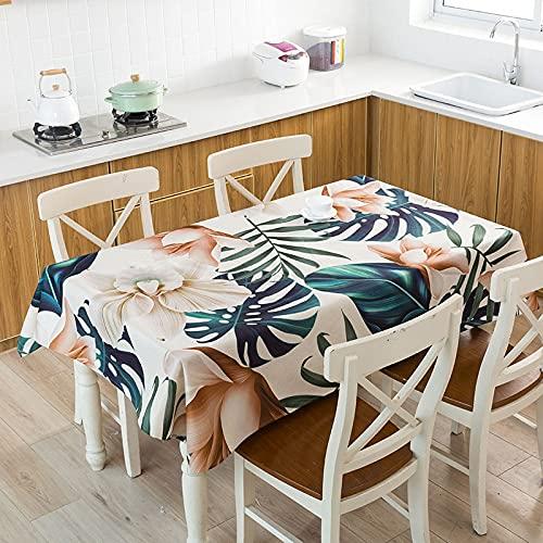 Mantel con Estampado de Hojas, Mantel Rectangular de plástico, patrón de verificación, tapete para Mesa de Centro, Y140x220cm