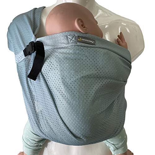 minimonkey Mini Sling | kleinste & leichteste Babytrage der Welt | Neugeborene bis max. 15 kg |wasserfest | vor dem Bauch & auf der Seite tragen | perfekte Sommertrage | grün