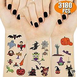 Ofertas Tienda de maquillaje: Tatuajes dignos de Halloween para la fiesta de tus hijos: el pequeño diseño de tatuajes de Halloween con 3 estilos diferentes en total contiene 15 hojas en el paquete. ¡Una serie de estilo de Halloween para proporcionar gran diversión tanto para niño...