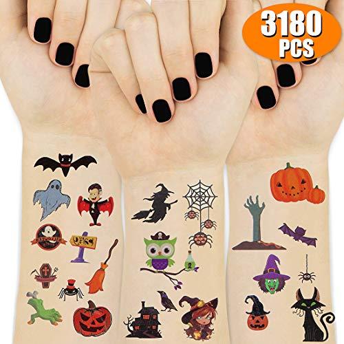 UniBetter Halloween Tatuajes Temporales para Niños, Calabaza Bruja Búho Tatuajes para Infantiles Fiesta de cumpleaños Regalo