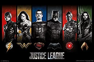 Trends International DC Comics Movie - Justice League - Heroes and Logos Wall Poster, 22.375
