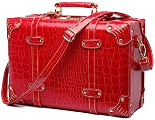 L.W.SUSL Suitcase Wheel Women Trolley Wedding Travel Bag Trunk Carry On Luggage Password Red Retro Crocodile Leather (Colo...