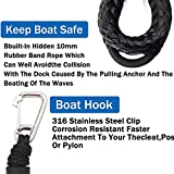 2PCS Dock Lines,4 Feet Boat Accessories Bungee Shock Cord Anchor Rope with Hooks for Boat Docking,Jet Ski,Kayak,Pontoon(Black)