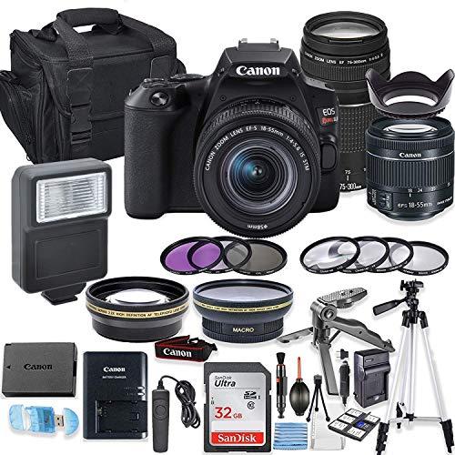 Canon EOS Rebel SL3 DSLR Camera Bundle with Canon EF-S 18-55mm STM Lens & EF 75-300mm III Lens + 32GB Sandisk Memory + Camera Case + TTL Flash + Accessory Bundle