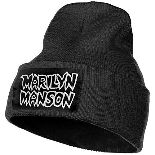 Funny Marilyn Manson Men's Classic Logo Mens&Womens Knit Hat Cap Skull Cap Winter Warm Soft Ski Cap Beanie Cap Black
