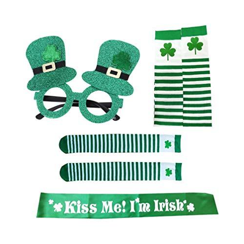 VALICLUD S T. Conjunto de Accesorios de Disfraz de Patricks Trbol Calentador de Brazo Media a Rayas Sombrero de Brillo Verde Marco de Anteojos Kiss Me im Irish Sash for Irish Party Favor