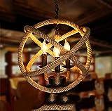 ZAKRLYB E14 3-luces cuerda del cáñamo de la lámpara de techo de la bola de la cuerda de la lámpara retro cáñamo Con El Bulbo retro del estilo de país Colgando Isla colgante del accesorio ligero, 110-2