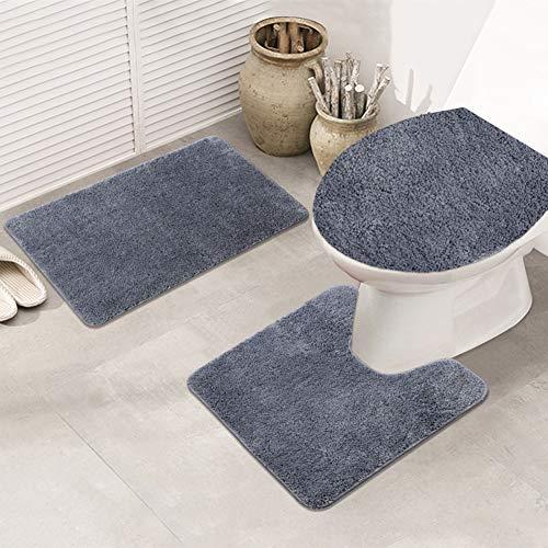 litty089 3 Stks Antislip Microvezel Waterabsorptie Toilet Seat Deksel Vloerbedekking Mat Kussen Set Thuis Badkamer Decor As Shown Zoals getoond