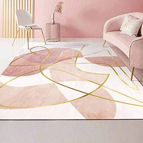 Kunsen Alfombras Creativo La Alfombra Diseño de Tinta Simple Rosa y Blanca con decoración de línea Amarilla Dorada Suave Duradera Dormitorio La Alfombra 100 * 160cm