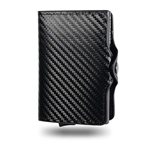 Porta Carte di Credito - Moneyhold® - Portafoglio Uomo Slim - Porta Documenti, Porta Tessere, Piccolo e In Pelle - Idea Regalo Uomo - (A) - Carbon/Nero (Senza Porta Monete)