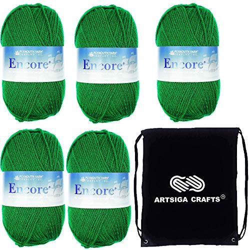 Plymouth Yarn Encore Worsted 5-Skeins (Same Dyelot) Christmas Green 0054 Artsiga Crafts Project Bag