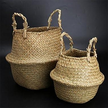 Jeteven Seagrass Tote Belly Basket Planter Laundry Hamper Toy Storage Organizer 2pcs 31cmx28cm
