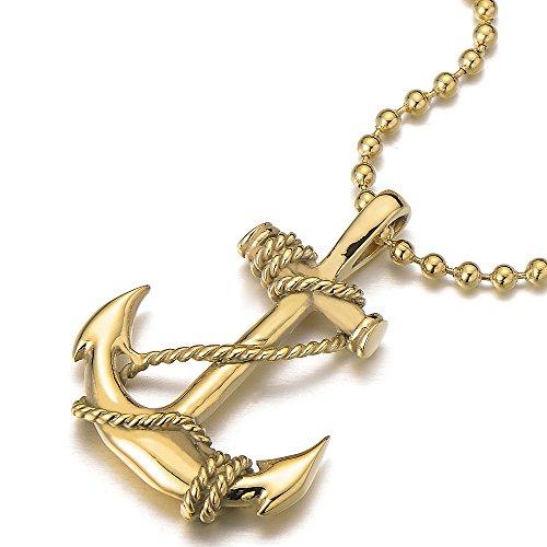 COOLSTEELANDBEYOND Oro Color Colgante Ancla Marina, Collar con Colgante de Hombre Mujer, Acero Inoxidable, Bola Cadena 60CM