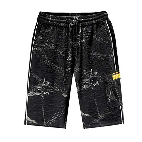 Xniral Badehose für Herren Freizeitsport Fitness Strandshorts Swim Shorts Bermudas mit Tunnelzug Boardshorts Jungen Beachshorts Schwimmshorts(a Schwarz,4XL)