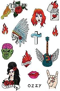 Tatsy Rock N Rolla Set, Tatuajes Temporales de Calidad, Para Hombre y Mujer, Rock and Roll, Tatuaje falso, Disfraz, Atuendo Estrella de Rock, Guitarra, Sabbath, Ozzy, Rehab, Fuego