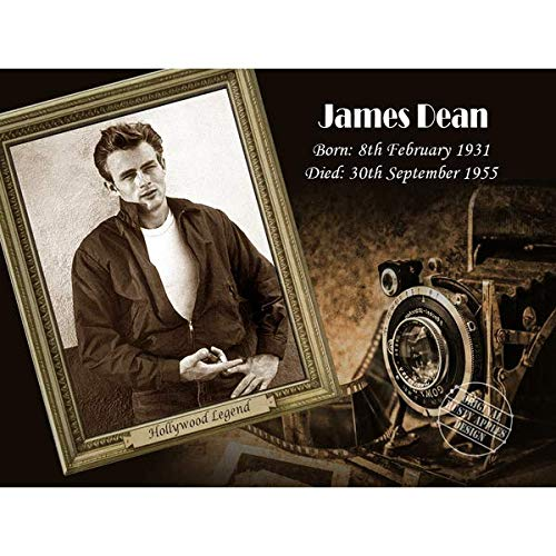 "James Dean – The Golden Age of Hollywood Collection – Placa de Metal – 3 tamaños a Elegir – Decoración del hogar, 12"" x 8"" 300 x 200 mm"
