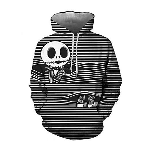 Jack Skellington Disfraz Unisex 3D Impreso Chaqueta Sudadera con Capucha Halloween Skellington Sudaderas Cremallera Chaqueta Jack Cosplay Disfraz Abrigo Ropa de Halloween Hombres Mujeres Niños