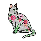 Lilie Créa Cat Patch 100% Embroidered Cat with Flowers and Foliage, Iron-On Patch for Iron or Sew On Embroidery 11 cm