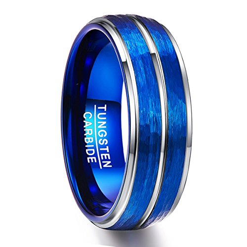 NUNCAD Ring Herren/Damen 8mm breit blau + Silber, Unisex Wolframring für Geschenk, Jahrestag, Verlobung und Hochzeit, Größe 67 (27)