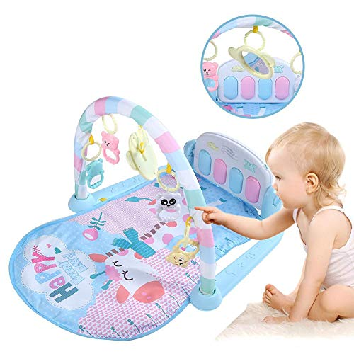Baby Fit Spielmatte, Spieltrapez Baby mit Spielbogen Spielzeug fördert die Motorik Holztrapez zum Schauen & Greifen 74 * 60 * 42cm (LBH)