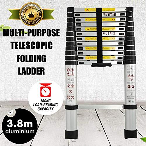 Nieuwe multi sport 3.8m vouwladder Climb telescoopladder, uittrekbaar, aluminium ladder, 13 stappen voor de Loft Casa plafond Dljyy