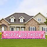 Large Pink Makeup Happy Birthday Banner, Spa Birthday Party Supplies, Make Up & Spa Themed Bday Party Decorations for Women Girls(9.8 * 1.6 feet)