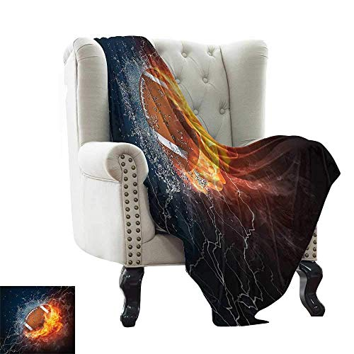 Sports Decor Collection,Soft Blanket Microfiber Football On Fire And Water Flame Splashing Thunder Lightning Abstract Print 62\x60\ Throw Travel Blanket For Beds Navy Orange Peru White 48x60IN