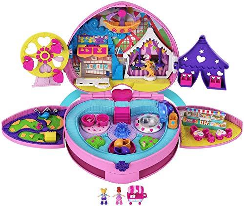 """Polly Pocket GKL60 - Polly Pocket """"Klein – ganz groß"""" Freizeitpark Rucksack mit verstellbaren Trägern, 2 kleinen Puppen, einem Eiswagen und Fahrgeschäften, für Kinder ab 4 Jahren"""