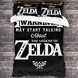 QWAS The Legend of Zelda Juego de ropa de cama, juego de funda nórdica Zelda, mullida, tejido muy cómodo, fácil de cuidar y mantiene el calor (A01, 140 x 210 cm + 80 x 80 cm x 2)