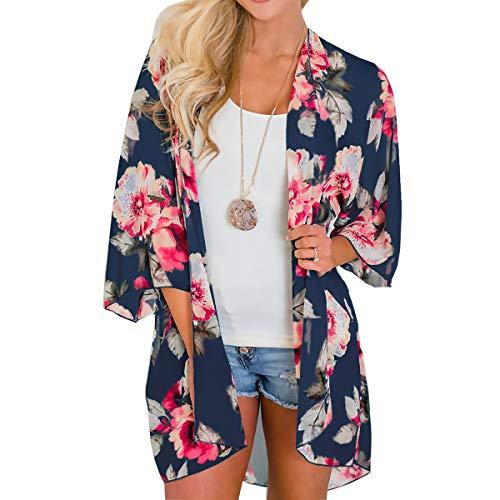 ECOMBOS Kimono Cardigan lungo da donna, in chiffon, kimono cardigan, estivo, da spiaggia, bikini, copertura per bikini, leggera, bohémien Colore: rosa. M