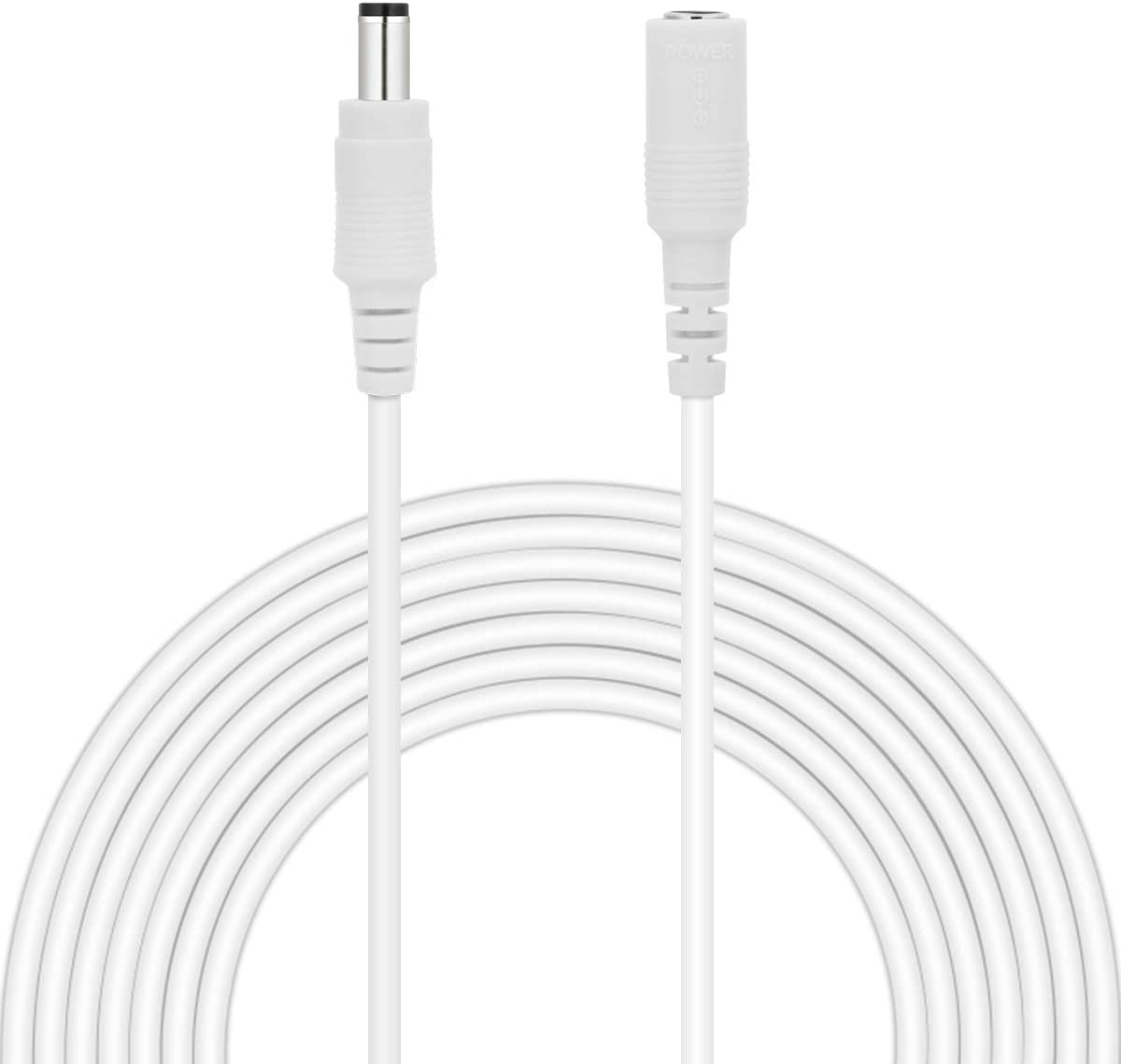 Dericam Cable de extensión de cargador de pared para adaptador de corriente de 6 metros, cable de extensión de CC de 12 voltios, tamaño de conector de 5.5x2.1 mm, 12V-6M, Blanco