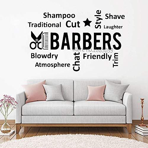 Coiffeur Citation Barber Shop Peigne Ciseaux Salon De Beauté Barber Shop stickers muraux stickers muraux 3d