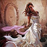 DKIPN DIY Digital Painting DIY Digital Oil Painting Mural Home Decoration Acrylic Painting (No Frame) Woman in White Dress in Front of The Mirror 40X50 cm