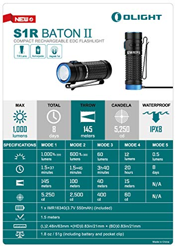Olight S1R II 1000 Lumens High Performance CW LED Single IMR16340 Powered Upgraded Magnetic USB Rechargeable Side-Switch EDC Flashlight with Battery and SKYBEN Battery Case (S1R II)