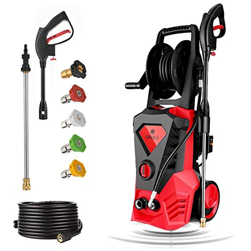 casulo Electric Pressure Washer MAX 3500PSI 2.6GPM, High Pressure Washer 1800W Electric Power Washer Cleaner w/Rolling Wheels, Hose Reel, 5 Interchangeable Nozzles, Spray Gun & 10m Hose