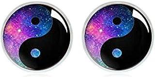 Galaxy Yin Yang Stud Earrings- 90's jewelry - Hypoallergenic Earrings for Sensitive Ears