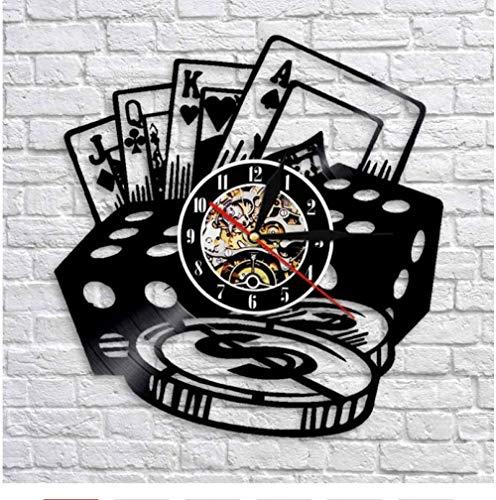 xiaoxong658 Reloj De Pared De Vinilo Reloj De Pared Disco De Vinilo Led Batería De Metal Música Extraíble Poker Arte Moderno Dormitorio Tema Familiar Personajes
