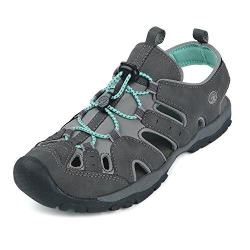 Northside Women's Burke II-W Sport Sandal, Dark Gray/Aqua, 8 M US