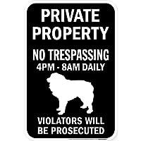 PRIVATE PROPERTY ブラックマグネットサイン:グレートピレニーズ シルエット 英語 私有地 無断立入禁止