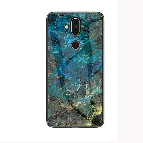 SHIEID Nokia 8.1 Hülle,Marmor Gehärtetem Glas und Silikon Rand Hybrid Hardcase Stoßfest Kratzfest Handyhülle Dünn Hülle Cover für Nokia 8.1 (Blau)