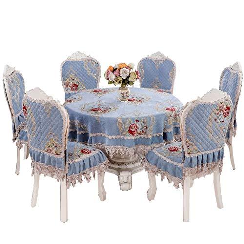 Hong Yi Fei-shop Abnehmbare Schutzhülle Stickte Spitze Stuhl Kissen Tischdecke Set Runde Tischdecke und Dining Chair Schutzhülle Silikon-Anti-Rutsch-Partikel-Futter, 6-teiliges Set Stuhlhusse