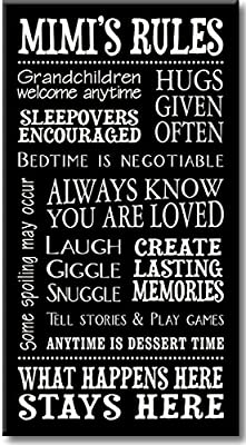 My Word! Mimi's Rules Decorative Sign, Black with Cream Lettering