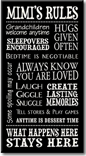 My Word! Mimi's Rules Decorative Sign, Black with Cream Lettering, 8.5x16