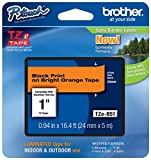 Genuine Brother 1' (24mm) Black on Bright Orange TZe P-Touch Tape for Brother PT-2700, PT2700 Label Maker