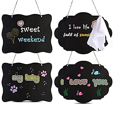 AUSTOR Chalkboard Sign 8x10 Inch Double Sided Erasable Message Board with Hanging Strings, 2 Shapes x 2, 4 Pack
