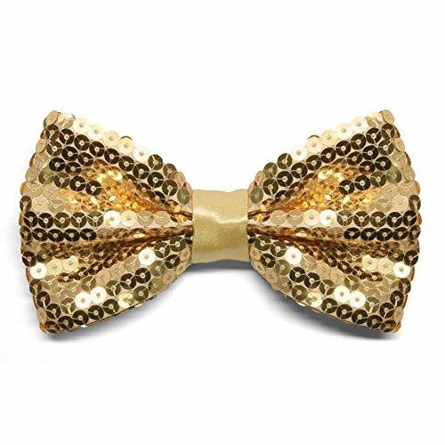 TieMart Gold Sequin Bow Tie