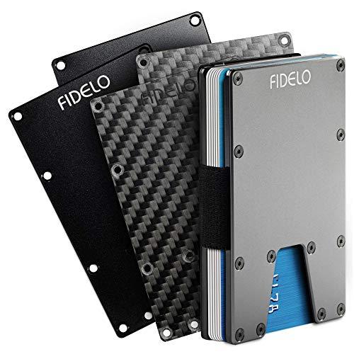 FIDELO Minimalist Wallet For Men - Slim RFID Credit Card Holder Money Clip
