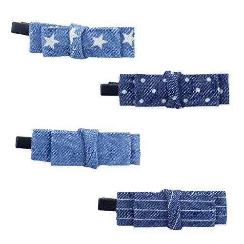 HAND Tissu Demin Look décontracté Bow Hairclip Barrettes Droites Arc Wrap avec Divers modèles de 70 mm x 18 mm - Pack de 4