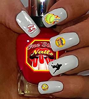 Softball Mom For You: Set of 80 Clear waterslide nail art decals with Softball Mom Art and Logos.SBM-002-80 by One Stop Nails