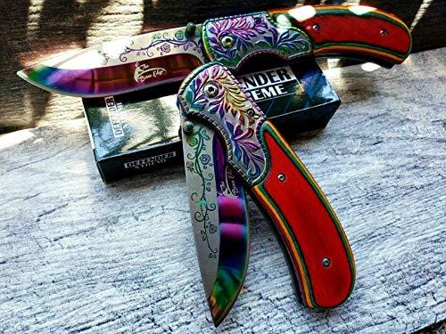 10' TheBoneEdge Hunting Classic Western Folding Pocket Knife White Pearl Handle